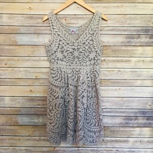 Anthropologie Baraschi  Nude Embroidered Dress